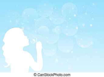 Silhouette of a little girl blowing dandelion. Vector EPS10.