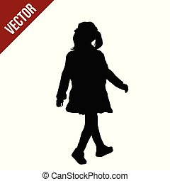 Silhouette of a little girl walking
