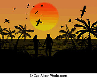 Silhouette of a lovers couple