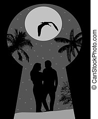 Silhouette of a lovers on night landscape