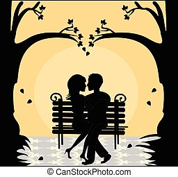 silhouette of a loving couple on a bench at sunset