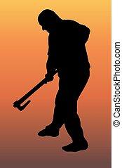 Silhouette of a lumberjack