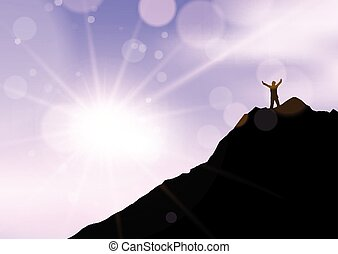 silhouette of a male stood with arms raised on cliff edge against sunset sky 2707