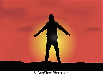 Silhouette of a male - Sunset background.