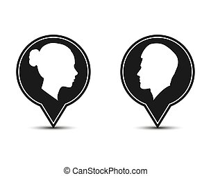 Silhouette of a man and a woman. Flat design.