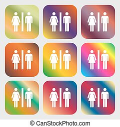 silhouette of a man and a woman icon. Nine buttons with bright gradients for beautiful design. Vector