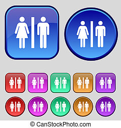 silhouette of a man and a woman icon sign. A set of twelve vintage buttons for your design.