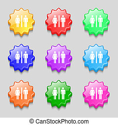 silhouette of a man and a woman icon sign. symbol on nine wavy colourful buttons.