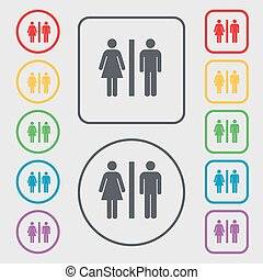 silhouette of a man and a woman icon sign. symbol on the Round and square buttons with frame. Vector