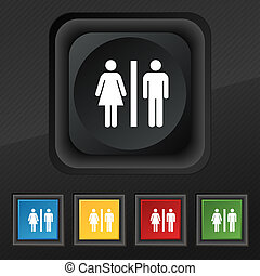 silhouette of a man and a woman icon symbol. Set of five colorful, stylish buttons on black texture for your design.