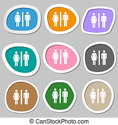 silhouette of a man and a woman icon symbols. Multicolored paper stickers.