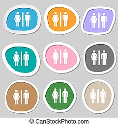 silhouette of a man and a woman icon symbols. Multicolored paper stickers. Vector