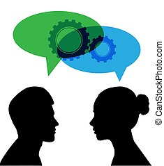 Silhouette of a man and a woman with a cloud for speech and gears
