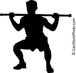 Silhouette of a man doing squats, illustration, vector on white background.