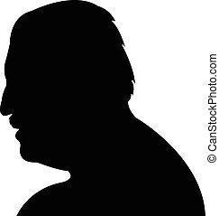 Silhouette of a man head in black,