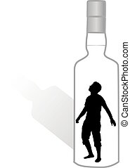 Silhouette of a man in a bottle