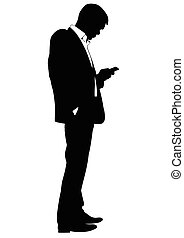 Silhouette of a man in a business suit with phone