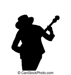 Silhouette of a man in a hat with a guitar. Simple design