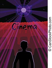 Silhouette of a man in an empty dark movie theater. Vector illustration