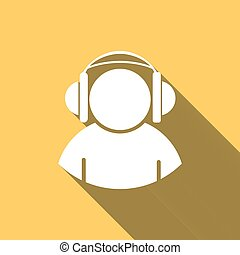 Silhouette of a man in headphones, long white shadow
