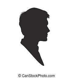 Silhouette of a man on white background.