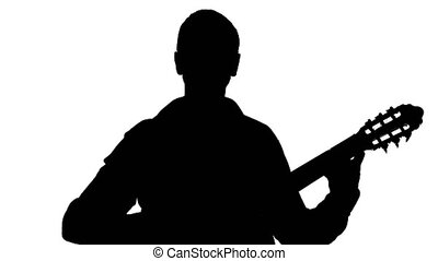 Silhouette of a man playing the guitar on a white background