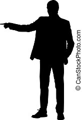 Silhouette of a man pointing with his finger, illustration, vector on white background.