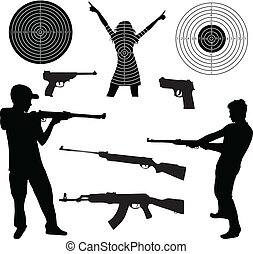 silhouette of a man shooting and firearms