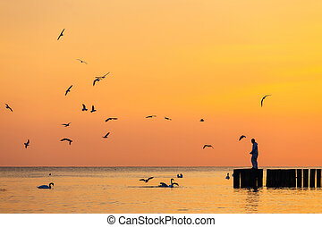 silhouette of a man standing on a breakwater against the sky at sunrise
