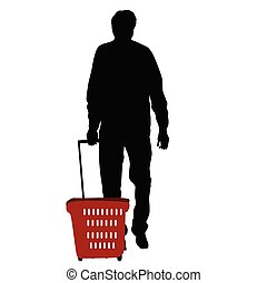 Silhouette of a man walking with shopping basket