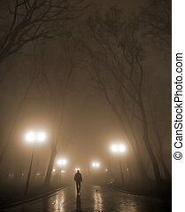 misty night - Silhouette of a man wearing a hat in the misty...