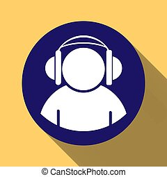 Silhouette of a man wearing headphones on a round blue button, long shadow