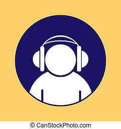 Silhouette of a man wearing headphones on a round blue button,