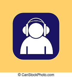 Silhouette of a man wearing headphones on a square blue button,