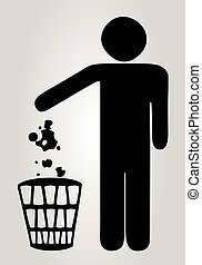 Silhouette of a man who throws trash in the trash.