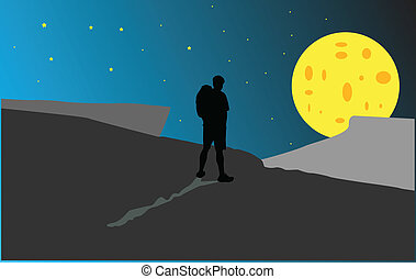 Silhouette of a man with a backpack