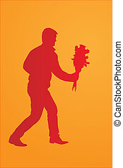 Silhouette of a man with a bouquet of flowers