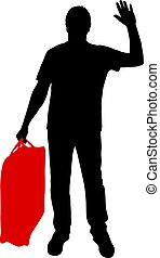 Silhouette of a man with a briefcase in hand, on a white background