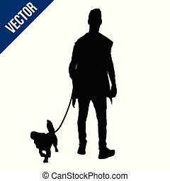 Silhouette of a man with a dog