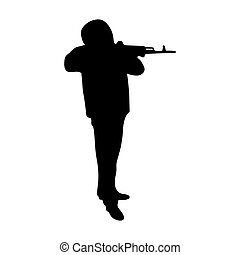 silhouette of a man with a gun