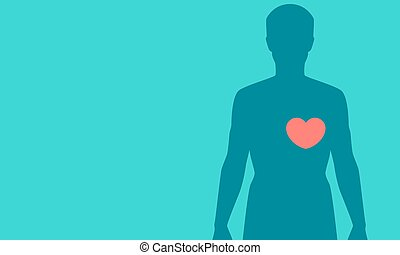 Silhouette of a man with a red heart on a blue background. Vector illustration