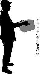 Silhouette of a man with box.