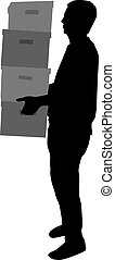 Silhouette of a man with boxes.