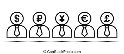 Silhouette of a man with currency symbols.