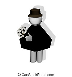 Silhouette of a man with flowers. c