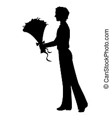 Silhouette of a man holding bunch of flowers. Hand drawn illustration