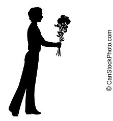 Silhouette of a man with flowers