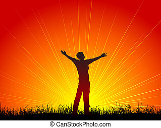 Silhouette of a man with his arms outstretched in worship