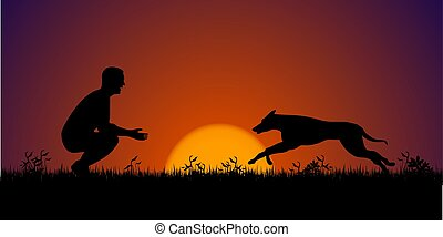 Silhouette of a man with his dog on the grass. Dog training concept