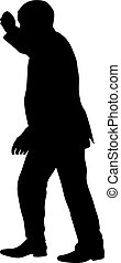 Silhouette of a man with his hand raised. Vector illustration